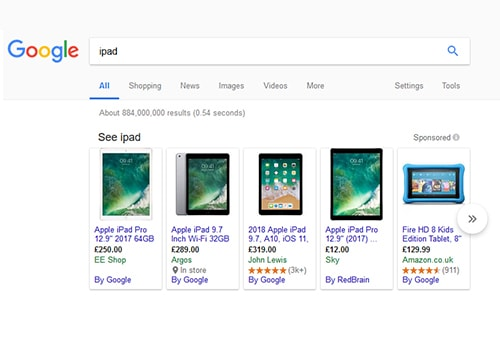 iPad google search