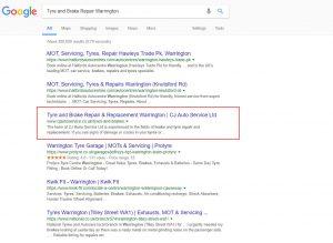 CJ Auto Service google results