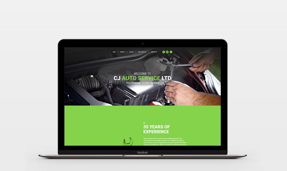 CJ Auto Service on laptop